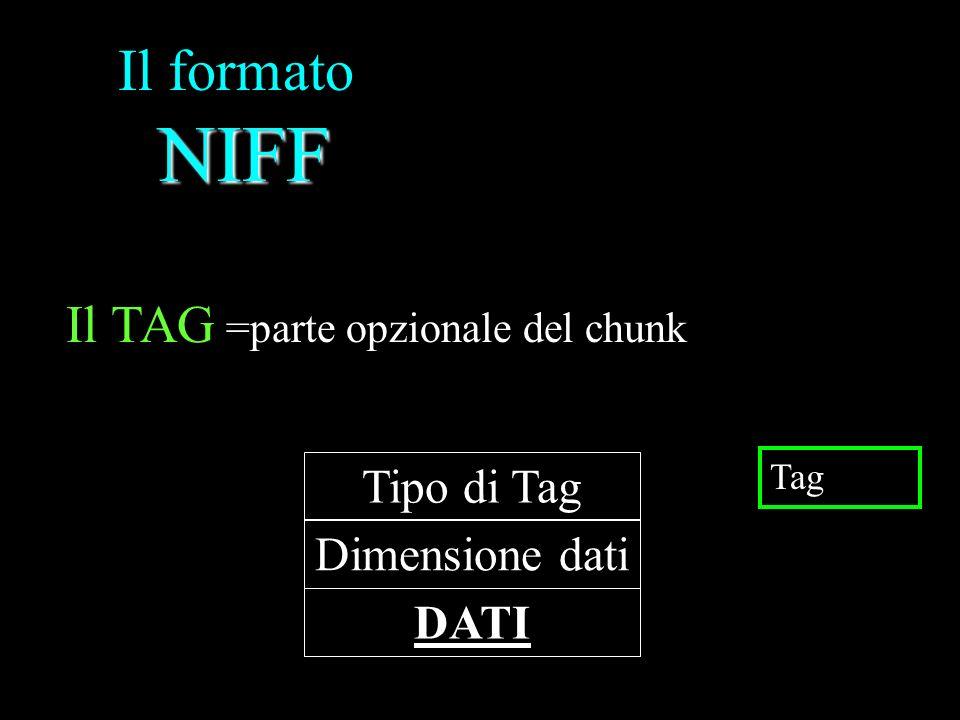 Il formato NIFF Il TAG Tipo di Tag Dimensione dati DATI