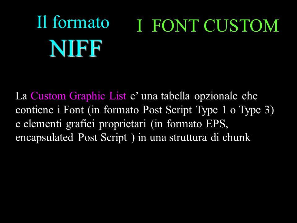 Il formato NIFF I FONT CUSTOM
