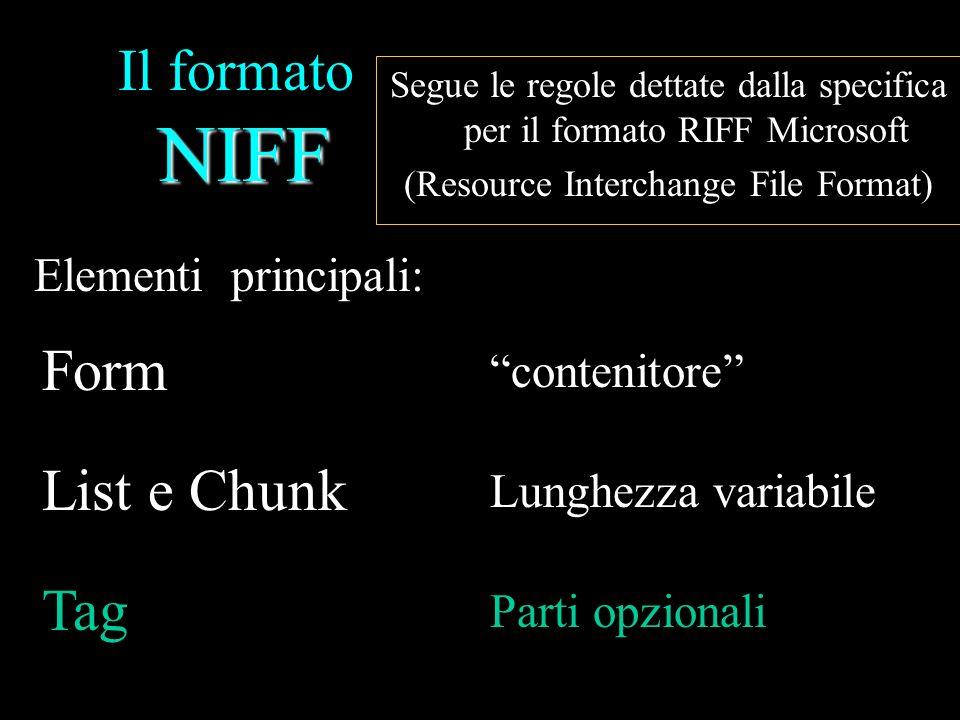Il formato NIFF Form List e Chunk Tag Elementi principali: