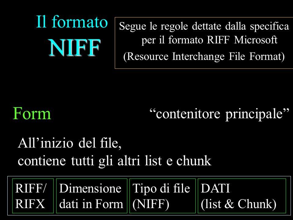 Il formato NIFF Form contenitore principale All'inizio del file,