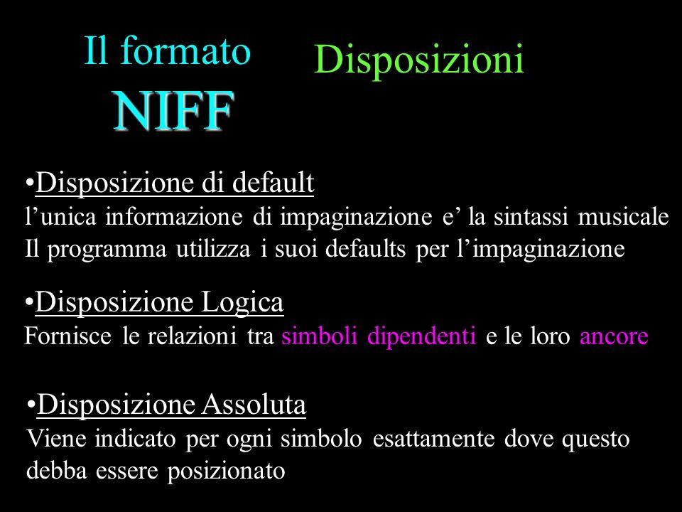 Il formato NIFF Disposizioni