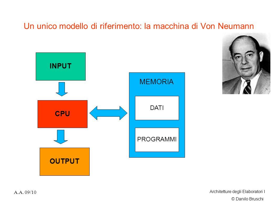Un unico modello di riferimento: la macchina di Von Neumann