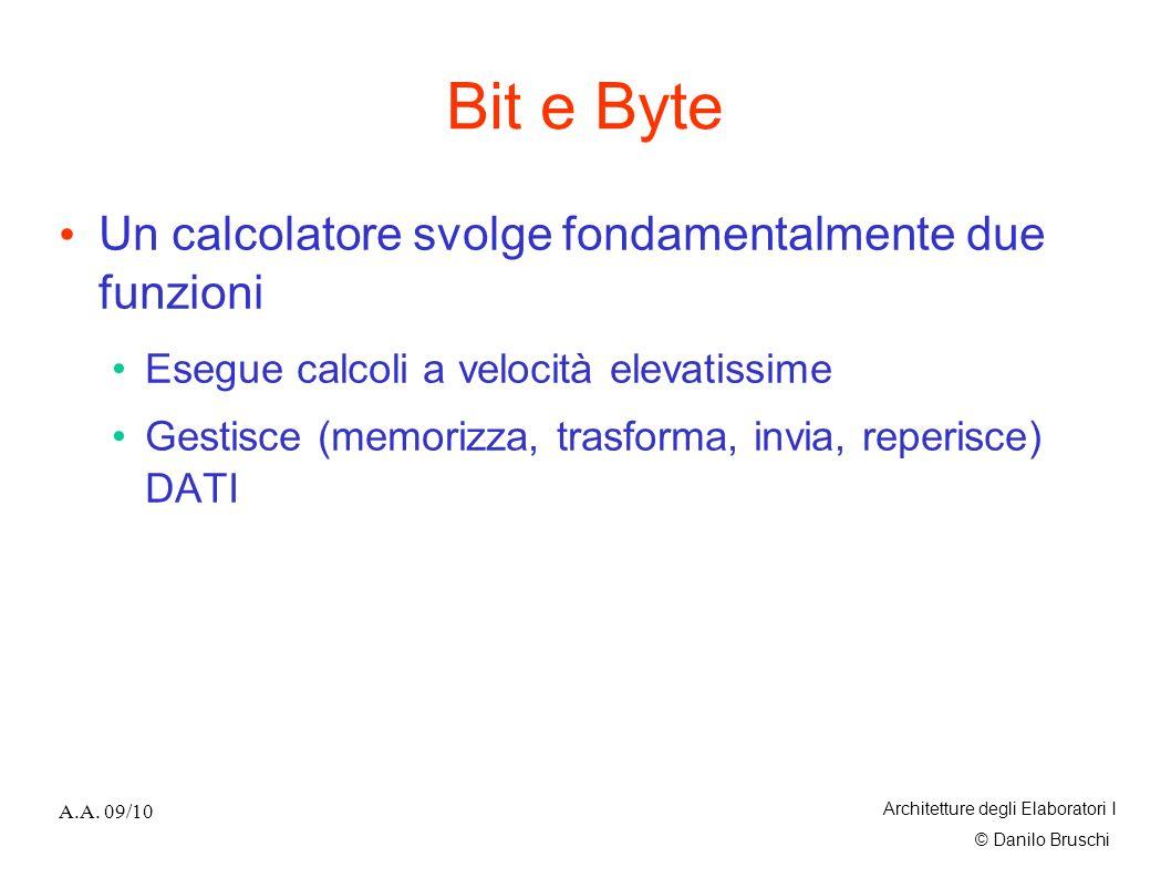 Bit e Byte Un calcolatore svolge fondamentalmente due funzioni