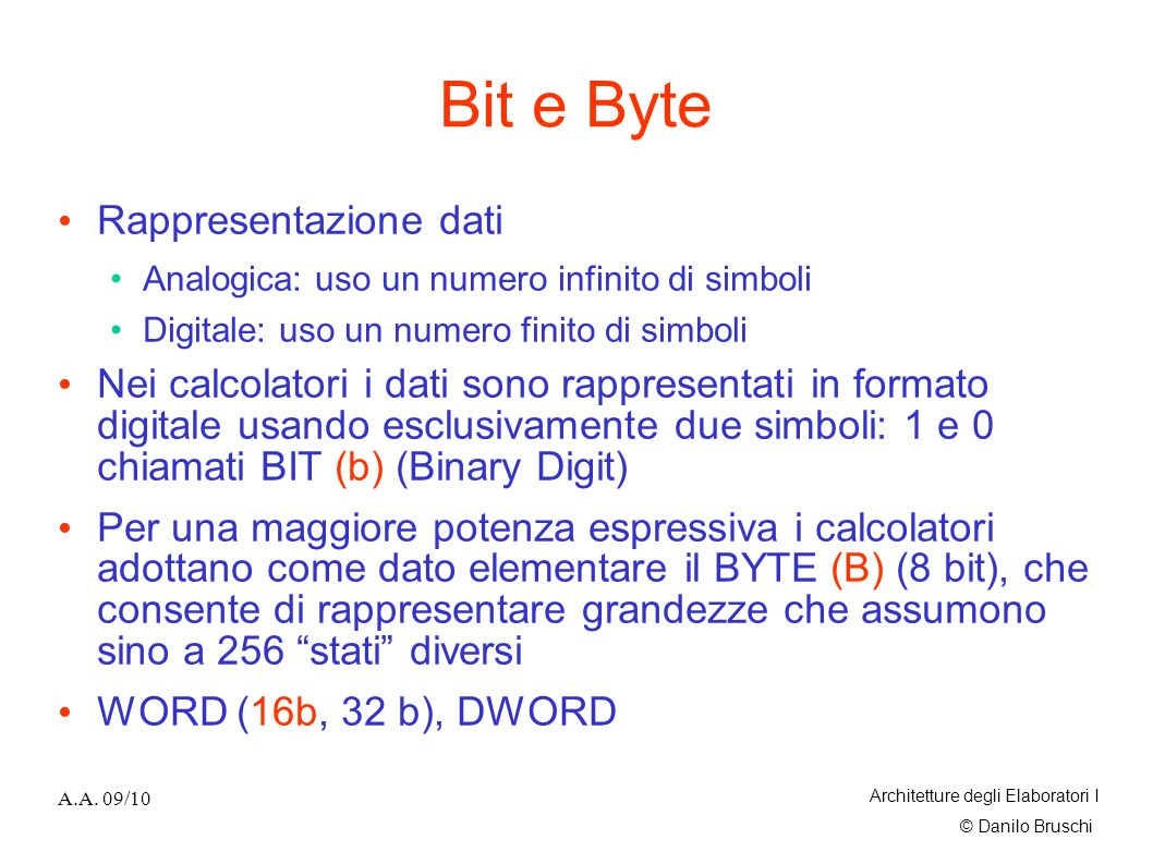 Bit e Byte Rappresentazione dati