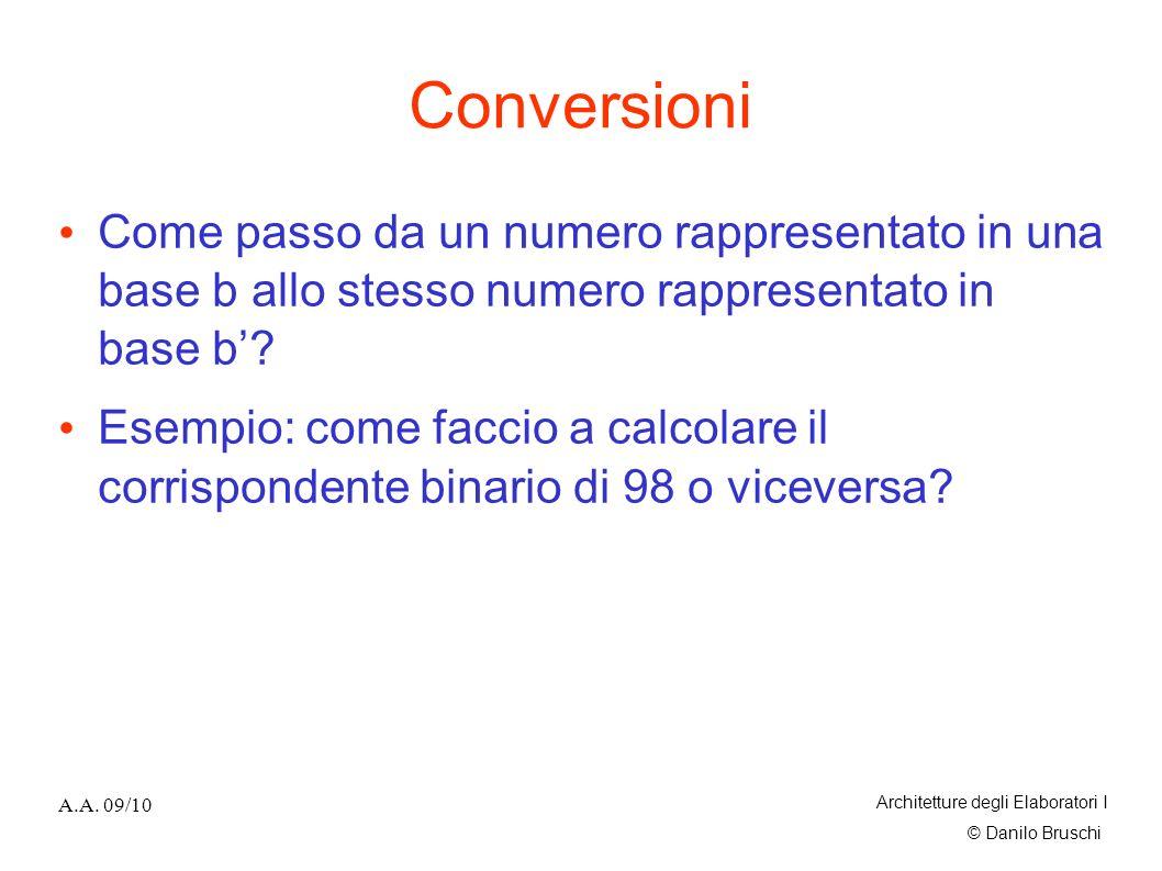 Conversioni Come passo da un numero rappresentato in una base b allo stesso numero rappresentato in base b'