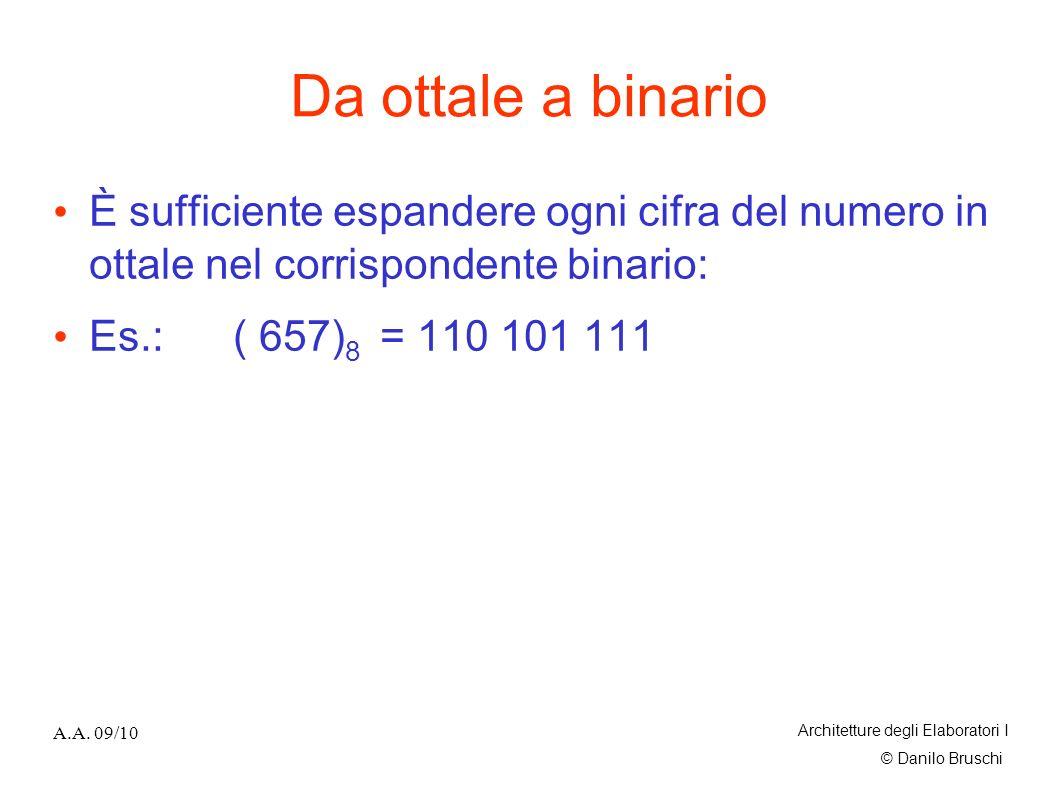 Da ottale a binario È sufficiente espandere ogni cifra del numero in ottale nel corrispondente binario: