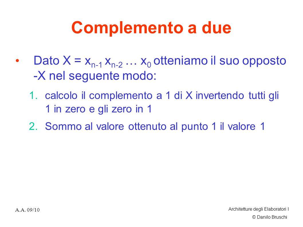 Complemento a due Dato X = xn-1 xn-2 … x0 otteniamo il suo opposto -X nel seguente modo: