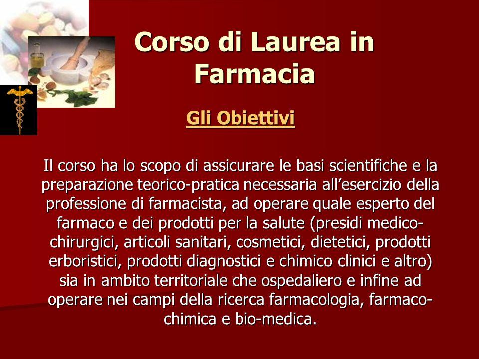 Corso di Laurea in Farmacia