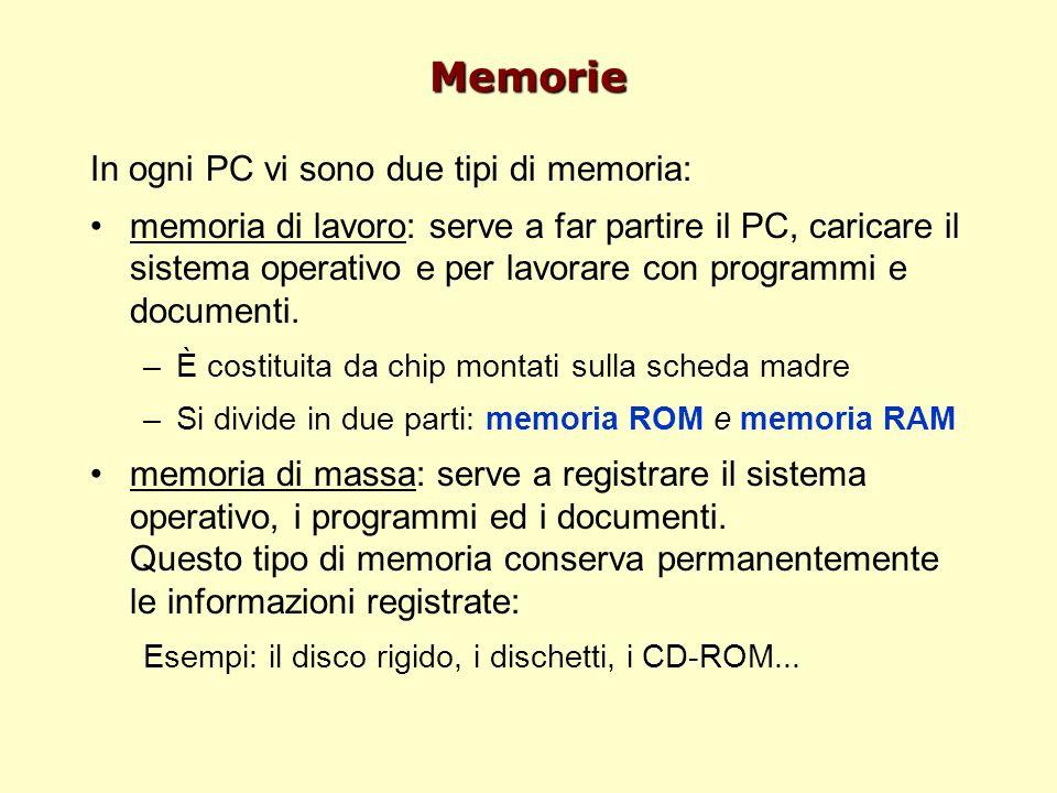 Memorie In ogni PC vi sono due tipi di memoria: