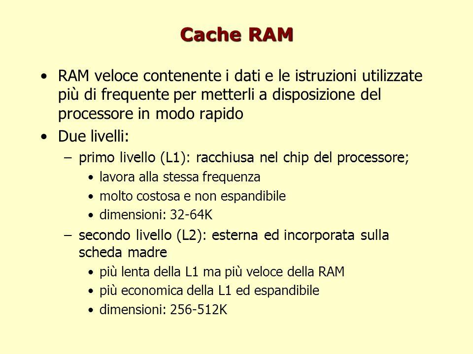 Cache RAM RAM veloce contenente i dati e le istruzioni utilizzate più di frequente per metterli a disposizione del processore in modo rapido.