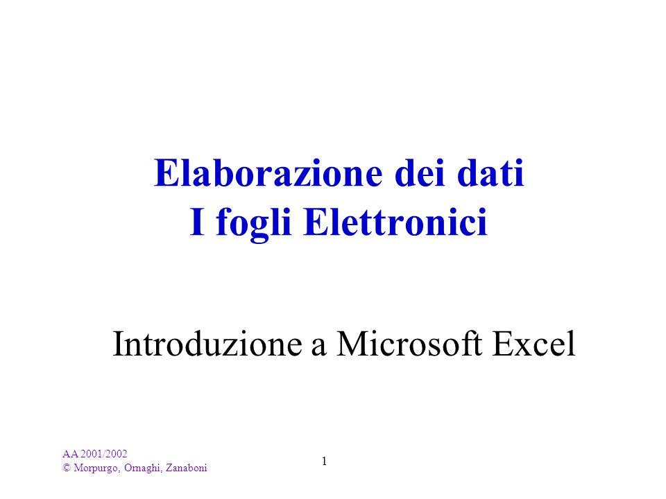 Elaborazione dei dati I fogli Elettronici