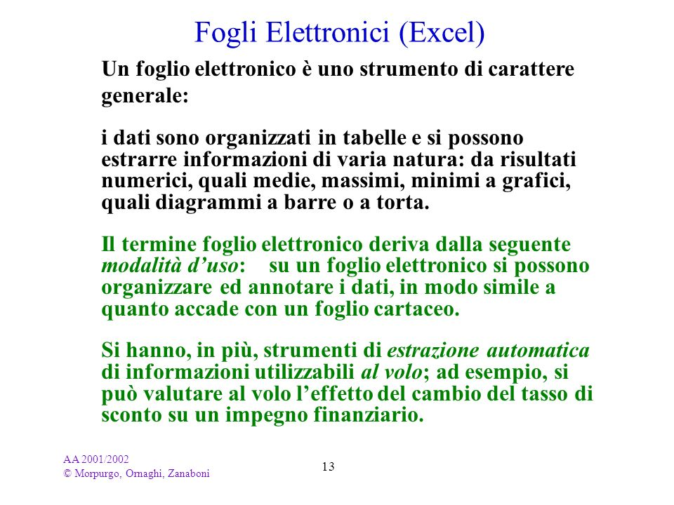 Fogli Elettronici (Excel)