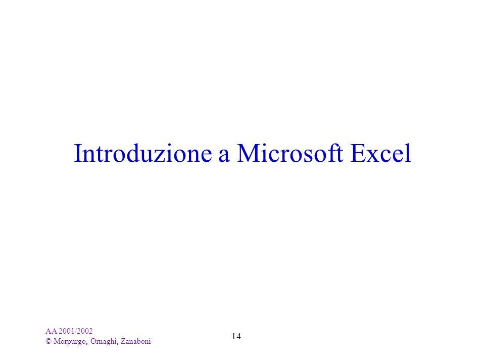 Introduzione a Microsoft Excel