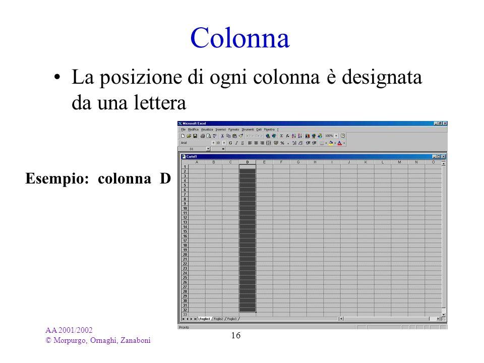 Colonna La posizione di ogni colonna è designata da una lettera