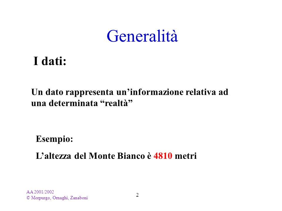 Generalità I dati: Un dato rappresenta un'informazione relativa ad una determinata realtà Esempio: