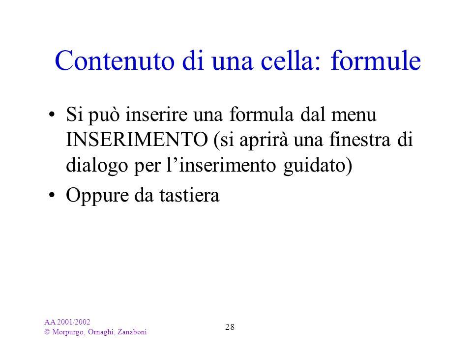 Contenuto di una cella: formule