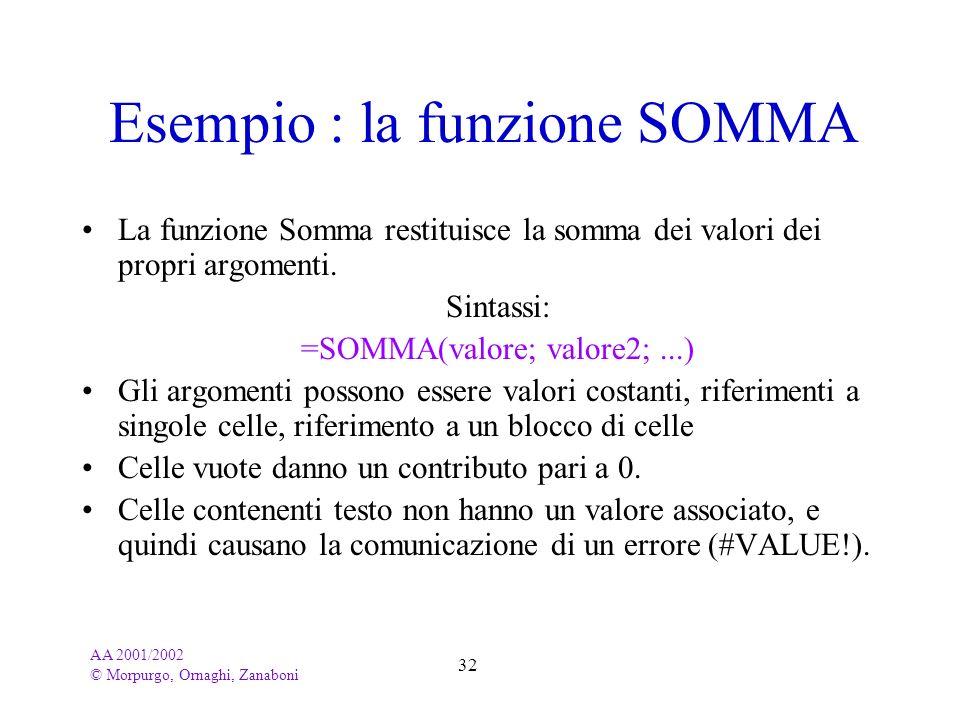 Esempio : la funzione SOMMA
