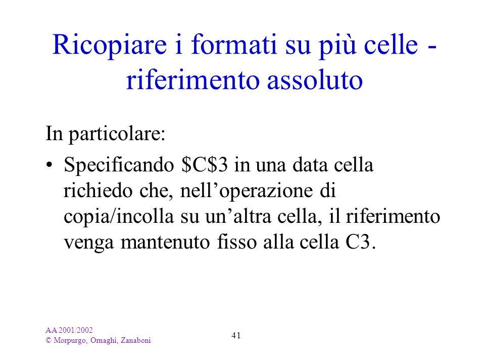 Ricopiare i formati su più celle - riferimento assoluto