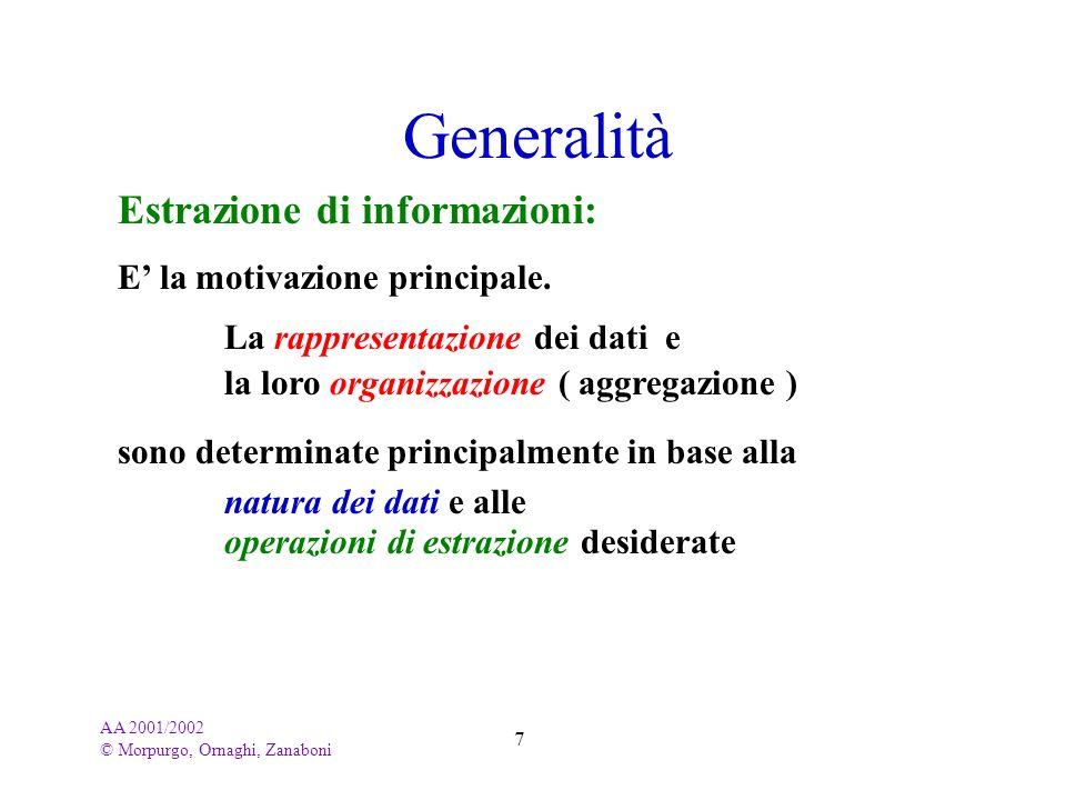 Generalità Estrazione di informazioni: E' la motivazione principale.