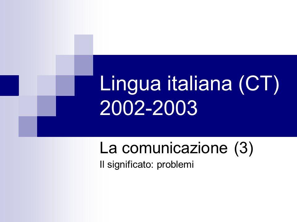 La comunicazione (3) Il significato: problemi