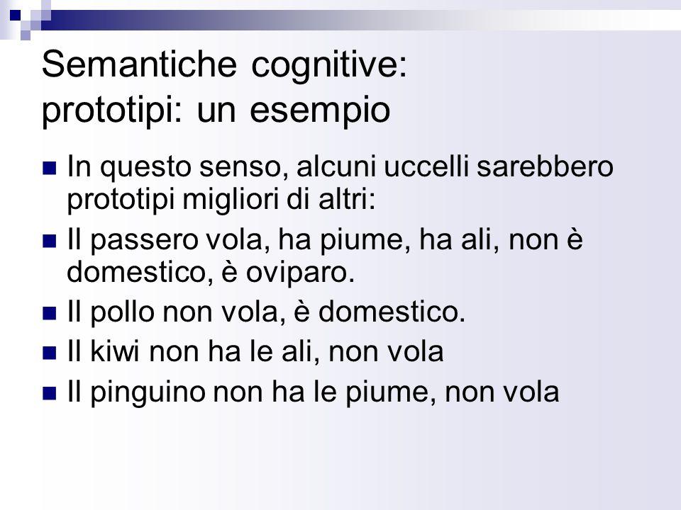 Semantiche cognitive: prototipi: un esempio
