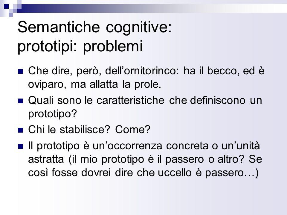 Semantiche cognitive: prototipi: problemi