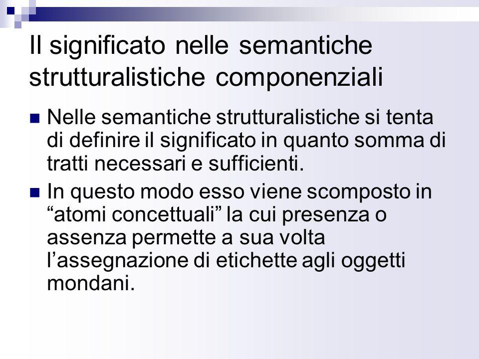 Il significato nelle semantiche strutturalistiche componenziali