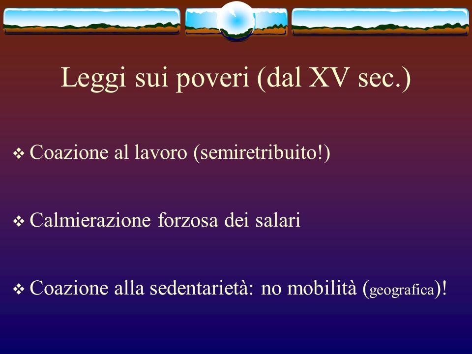 Leggi sui poveri (dal XV sec.)
