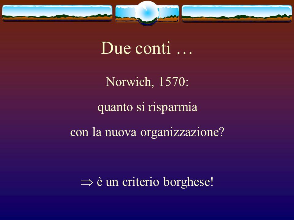 Due conti … Norwich, 1570: quanto si risparmia