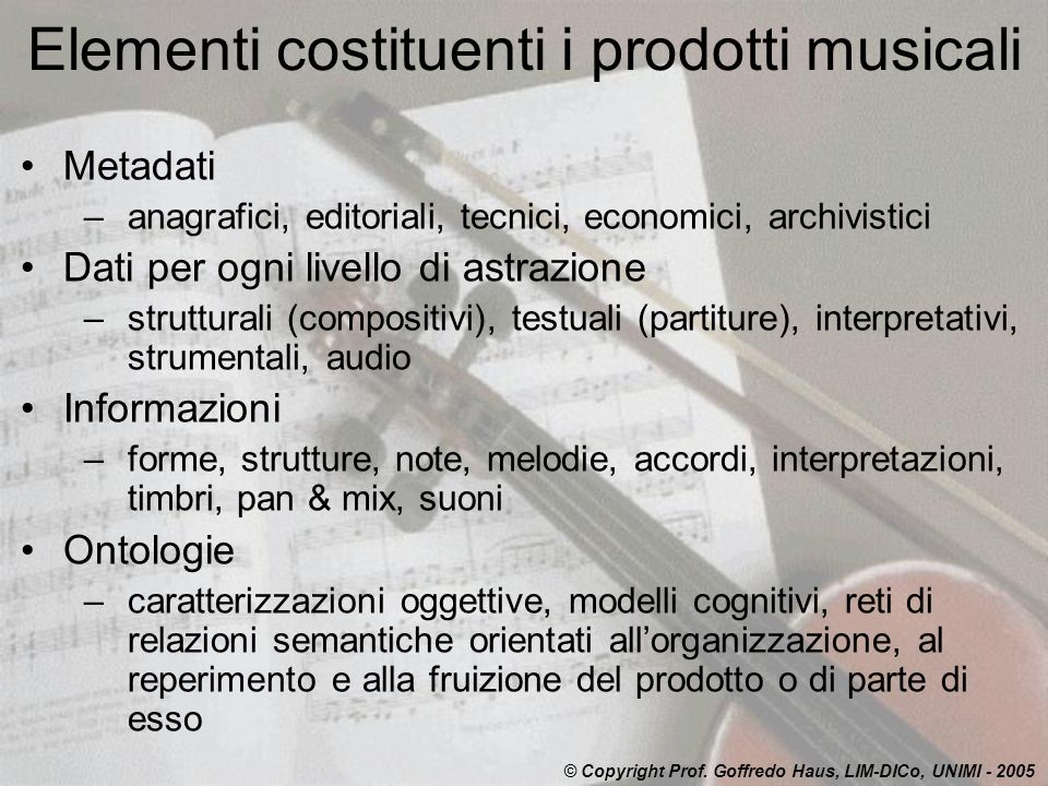 Elementi costituenti i prodotti musicali
