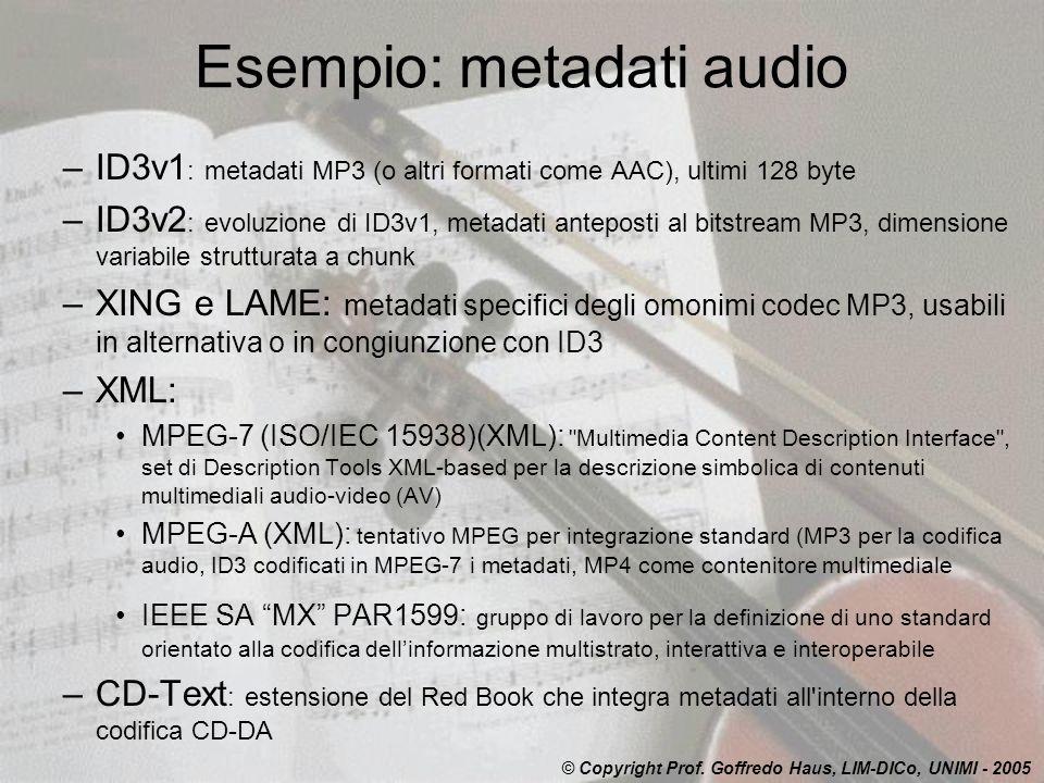 Esempio: metadati audio