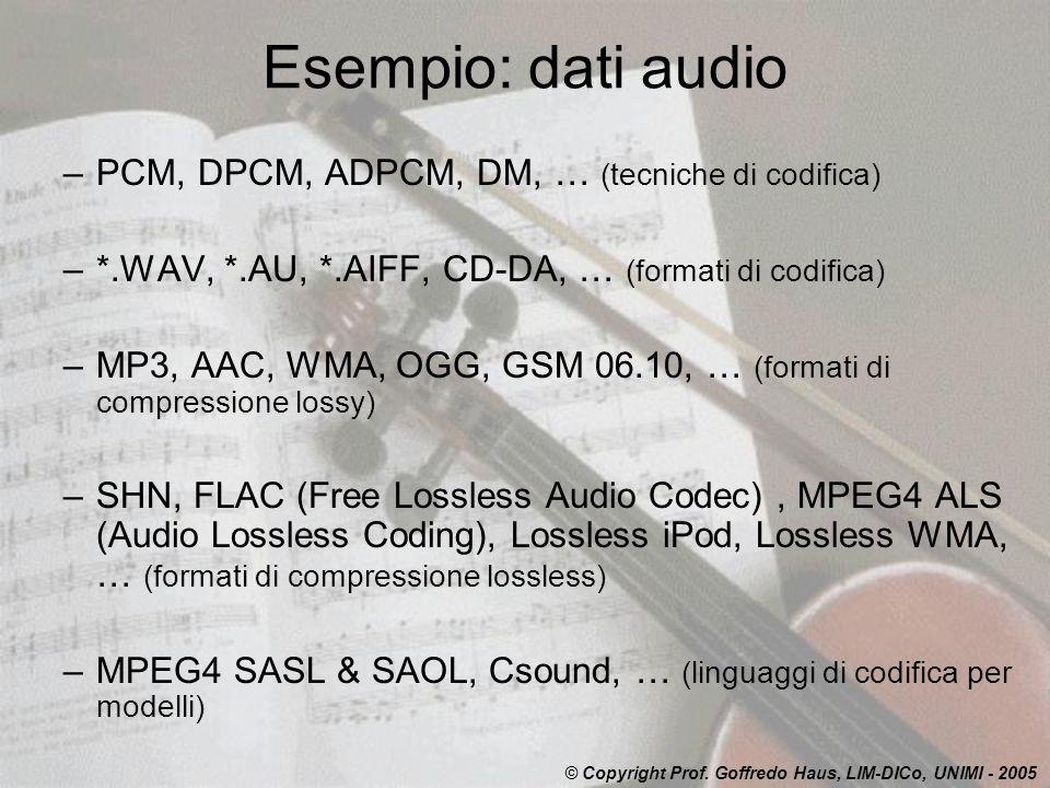 Esempio: dati audio PCM, DPCM, ADPCM, DM, … (tecniche di codifica)