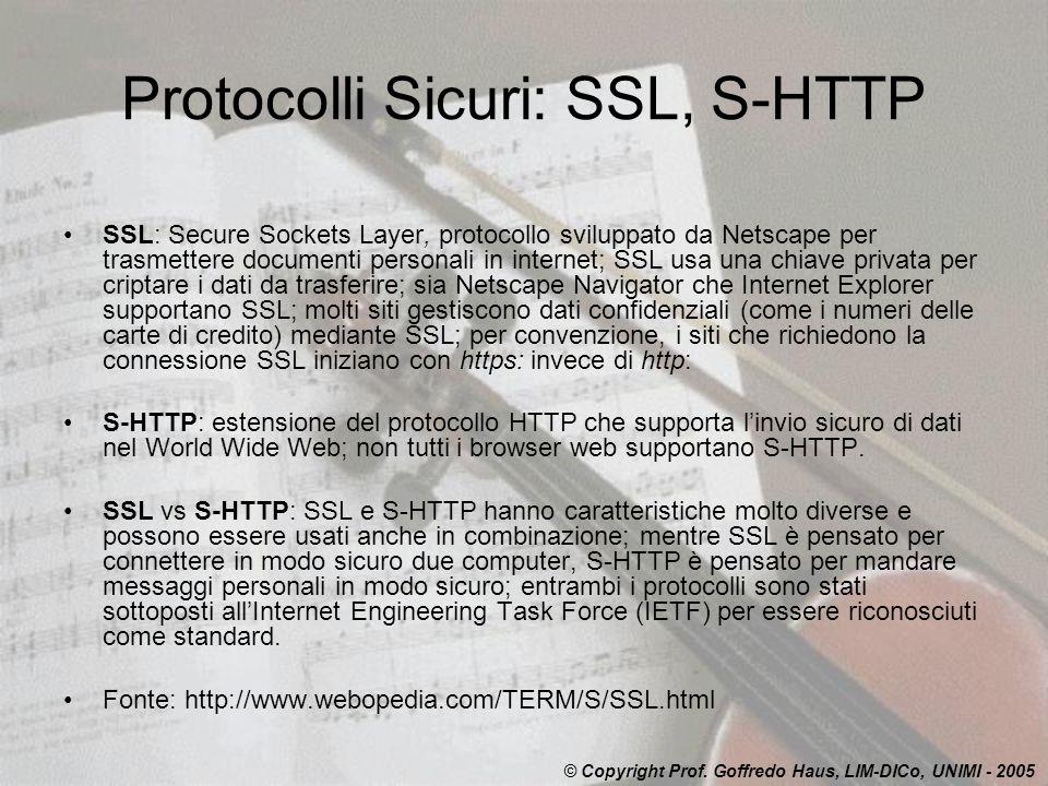 Protocolli Sicuri: SSL, S-HTTP