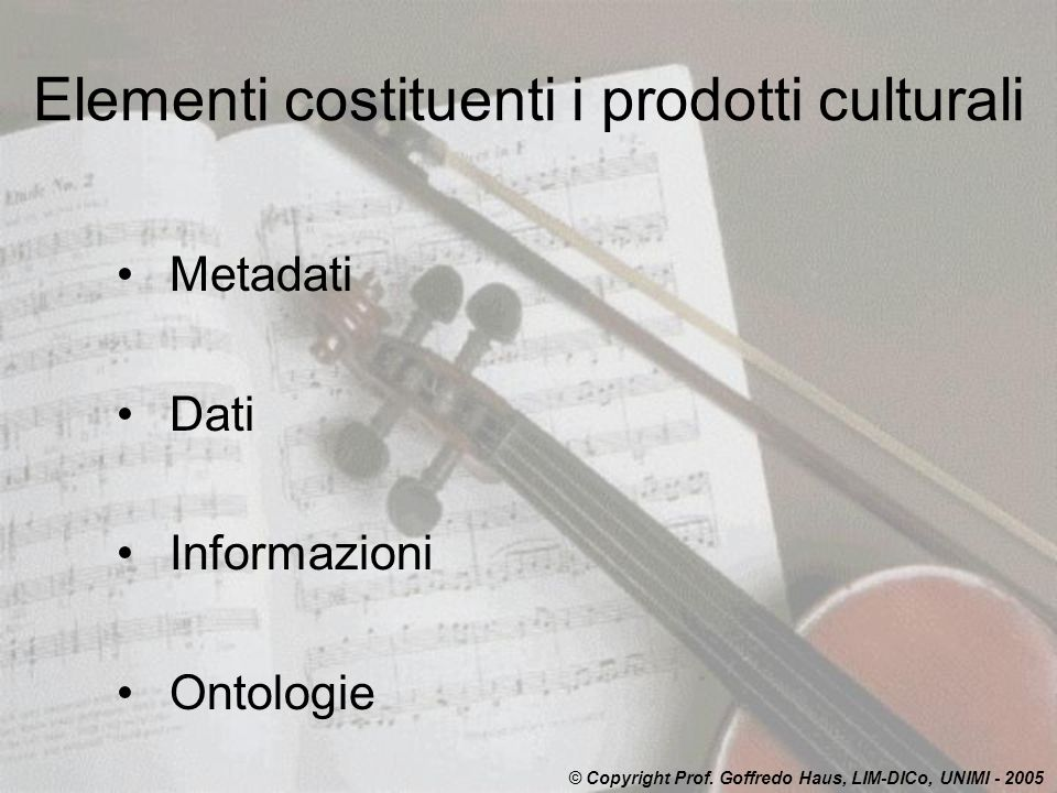 Elementi costituenti i prodotti culturali