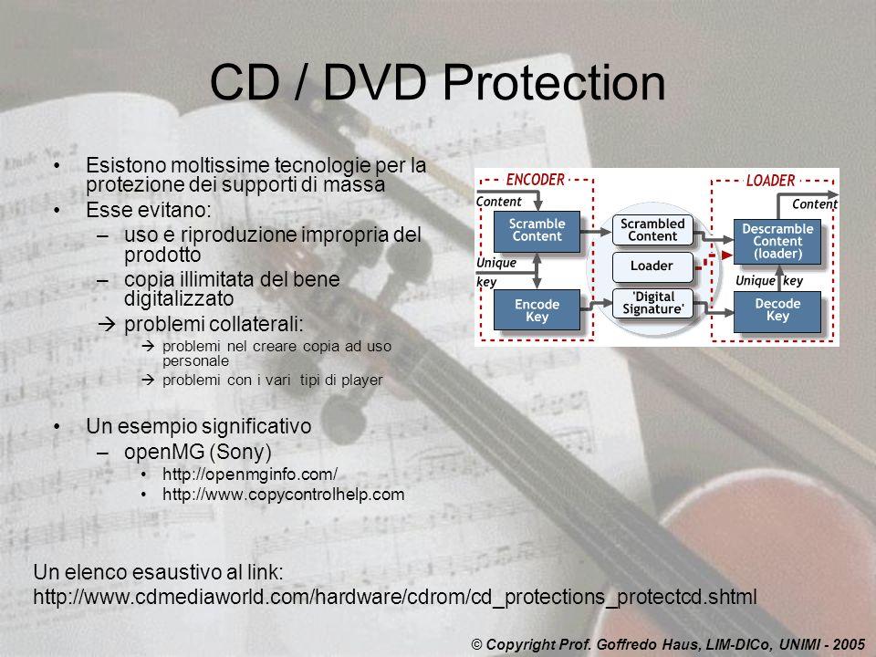 CD / DVD Protection Esistono moltissime tecnologie per la protezione dei supporti di massa. Esse evitano: