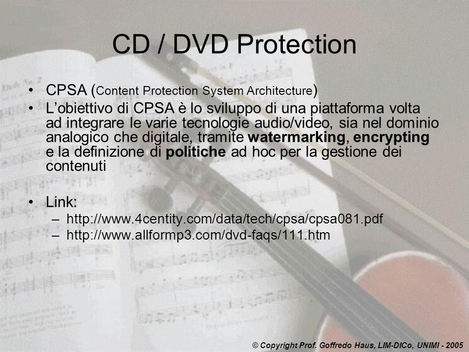 CD / DVD Protection CPSA (Content Protection System Architecture)