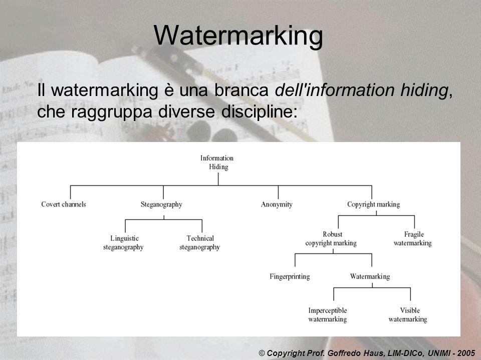 Watermarking Il watermarking è una branca dell information hiding, che raggruppa diverse discipline: