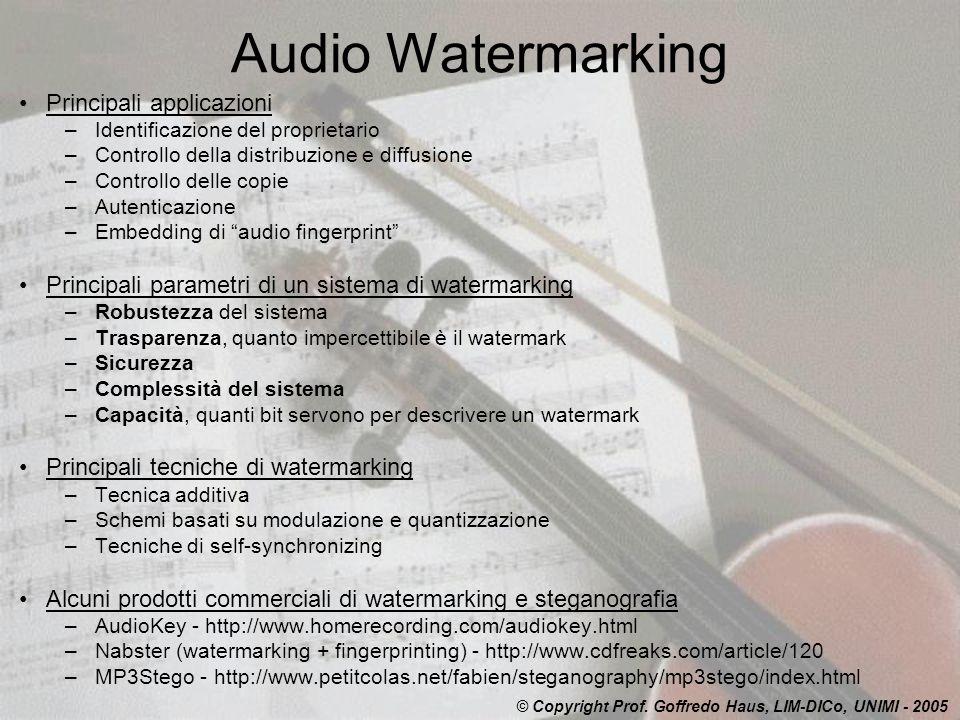 Audio Watermarking Principali applicazioni