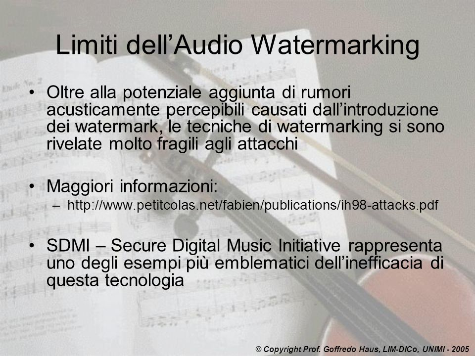 Limiti dell'Audio Watermarking