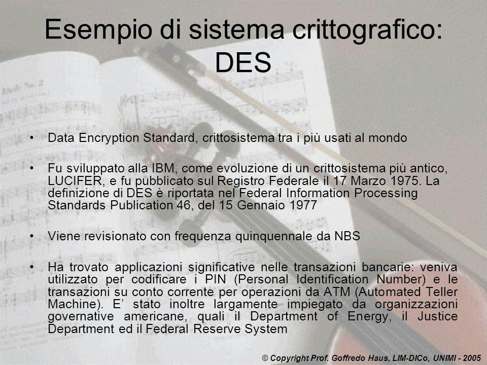 Esempio di sistema crittografico: DES