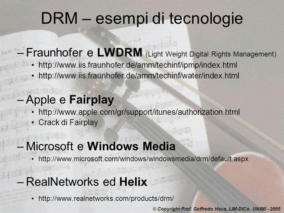 DRM – esempi di tecnologie