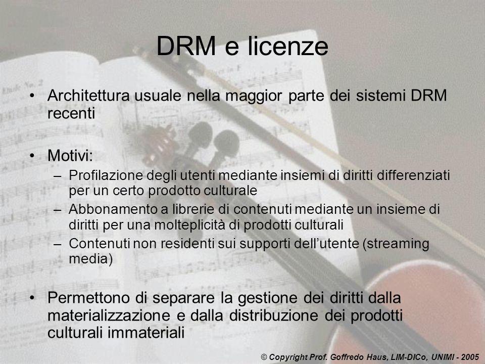 DRM e licenze Architettura usuale nella maggior parte dei sistemi DRM recenti. Motivi: