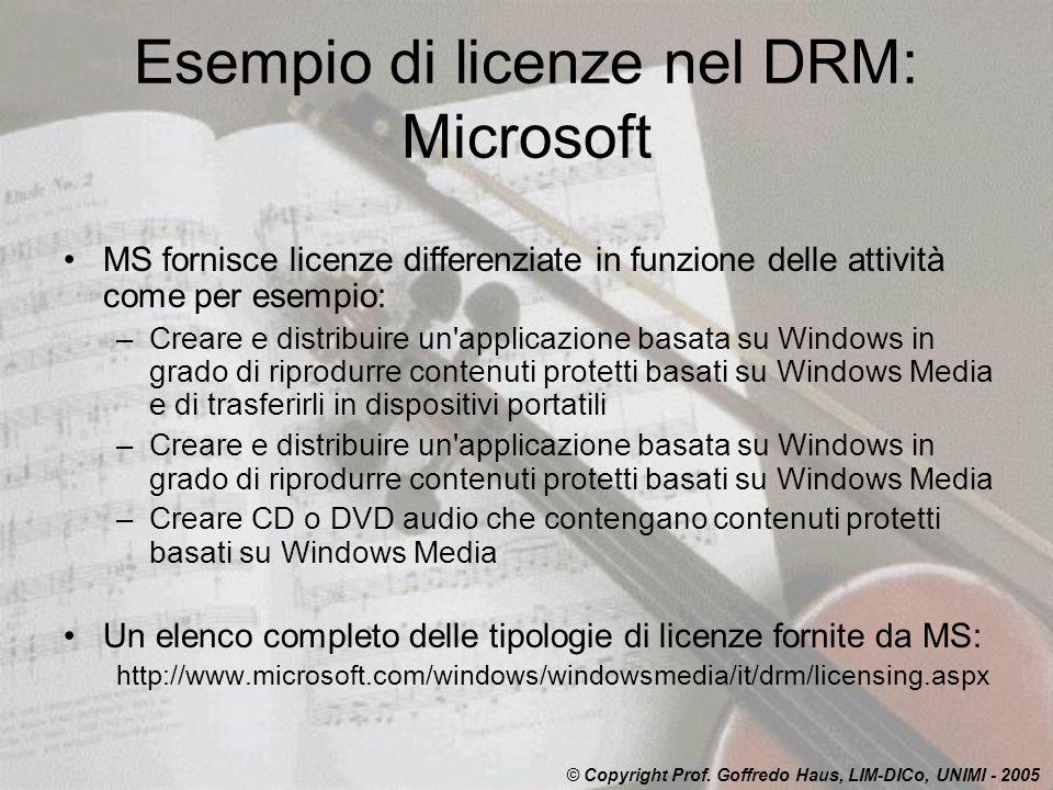 Esempio di licenze nel DRM: Microsoft