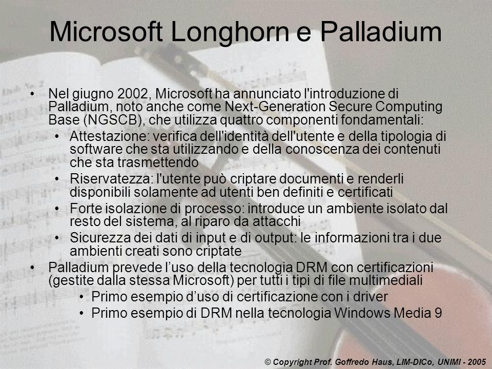Microsoft Longhorn e Palladium