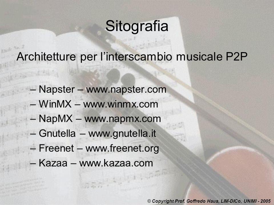 Sitografia Architetture per l'interscambio musicale P2P