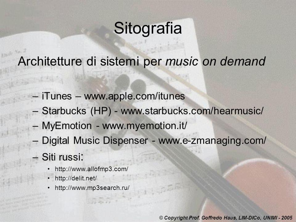 Sitografia Architetture di sistemi per music on demand