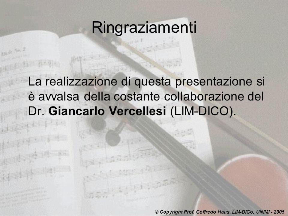 Ringraziamenti La realizzazione di questa presentazione si è avvalsa della costante collaborazione del Dr. Giancarlo Vercellesi (LIM-DICO).