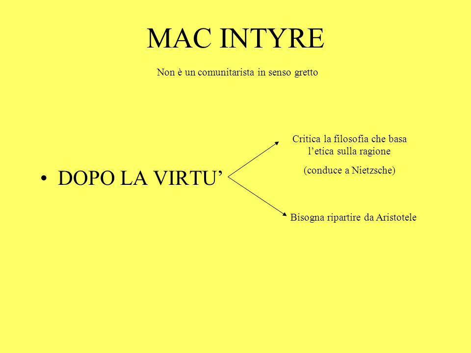 MAC INTYRE DOPO LA VIRTU' Non è un comunitarista in senso gretto