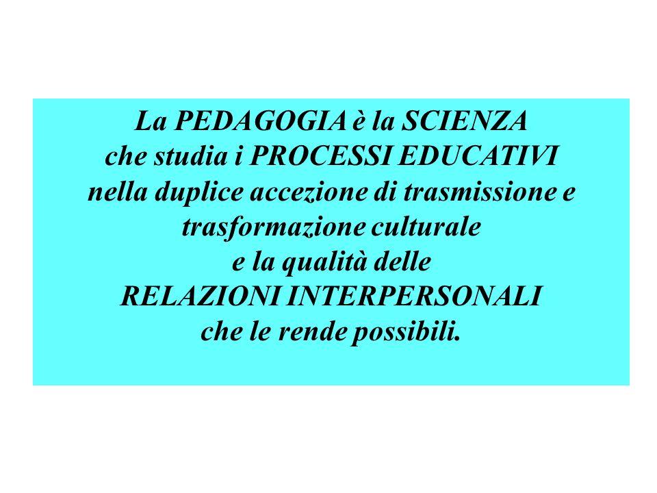 La PEDAGOGIA è la SCIENZA che studia i PROCESSI EDUCATIVI