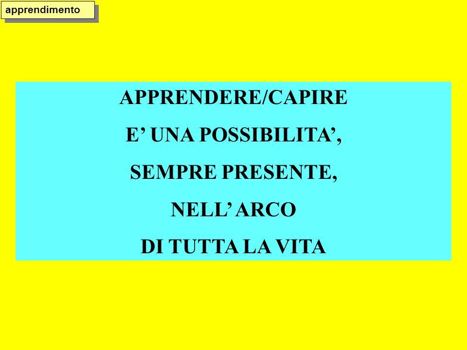 APPRENDERE/CAPIRE E' UNA POSSIBILITA', SEMPRE PRESENTE, NELL' ARCO